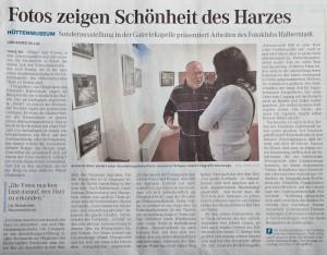 Zeitungsartikel Ausstellungseröffnung Hüttenmuseum Thale